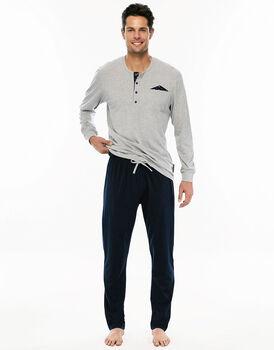 Pigiama manica e gamba lunga grigio melange in jersey con casacca con polsini-LOVABLE