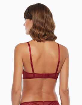 Balconette imbottito in pizzo e tulle, color biking red, , LOVABLE