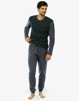 Pigiama manica e gamba lunga, rigato verde, in interlock e tinto in filo con tascino sul retro pantalone-LOVABLE