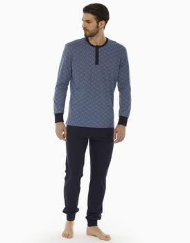 Pigiama manica e gamba lunga, blu polvere, in jersey 100% cotone, , LOVABLE