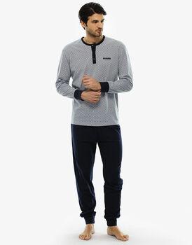 Pigiama manica e gamba lunga grigio ghiaccio stampato, in jersey-LOVABLE