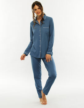 Pigiama manica e gamba lunga, blue jeans, in cotone modal-LOVABLE