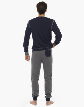 Pigiama manica e gamba lunga in contrasto colore, grigio mélange scuro, in interlock con fascia in vita, , LOVABLE
