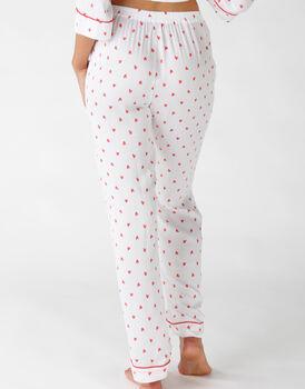 Pantalone lungo in tela di viscosa, fantasia cuori, , LOVABLE