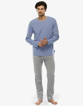 Pigiama manica e gamba lunga azzurro polvere in jersey con taschino-LOVABLE