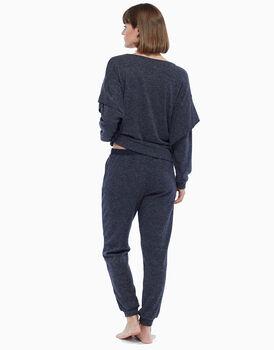 Maglia oversize manica lunga vestibilità comfort, blu melange, in angora , , LOVABLE