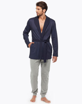 Felpa effetto piquet garzata blue jeans, , LOVABLE