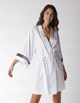 Kimono maniche 3/4 in jacquard con inserto balzina crochet, bianco, , LOVABLE