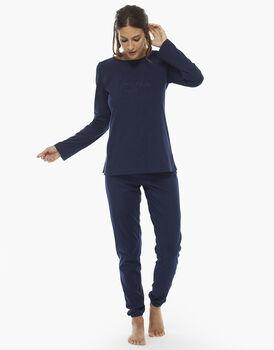 Pigiama manica e gamba lunga blu, in jersey di cotone , , LOVABLE