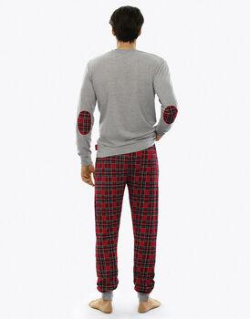 Pigiama manica e gamba lunga grigio mélange in jersey-LOVABLE