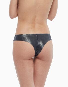 Culotte brasiliano in microfibra laser cut con stampa laminata, argento nero, , LOVABLE