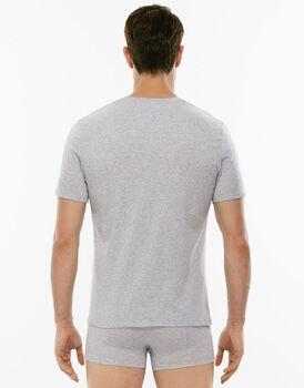 T-shirt girocollo Premium Cotton grigio melange in cotone elasticizzato di alta qualità-LOVABLE