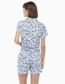 Pigiama corto in jersey di cotone, blu e bianco, , LOVABLE