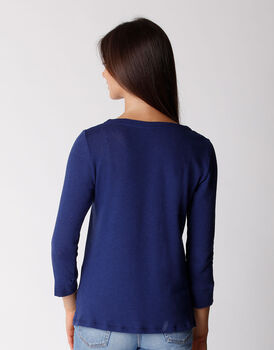 T-shirt manica 3/4 in cotone e lino, blu, , LOVABLE
