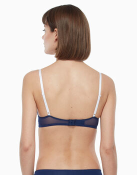 Push up in pizzo e tulle, blu e bianco, , LOVABLE