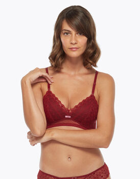 Bralette imbottita in pizzo e tulle, color biking red, , LOVABLE