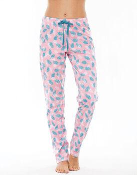 Pantalone lungo rosa stampa foglie in jersey di cotone con coulisse in vita-LOVABLE