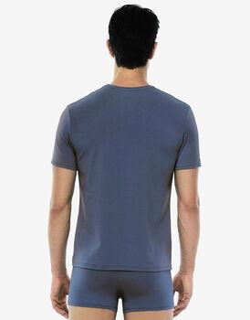Maglia manica corta scollo a V, blu polvere, in cotone modal-LOVABLE