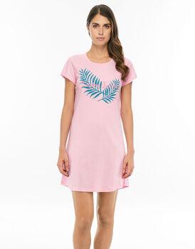 Camicia da notte manica corta rosa lotus in jersey cotone con stampa piazzata-LOVABLE