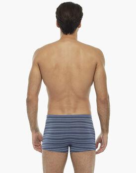 Boxer blu polvere rigato in cotone modal , , LOVABLE
