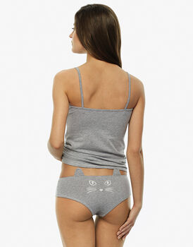 Top e culotte grigio in cotone elasticizzato-LOVABLE