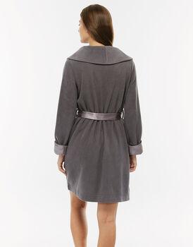 Vestaglia in poliestere grigio con collo a scialle e risvolto in raso-LOVABLE