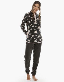 Homewear manica e gamba lunga stampa fiori in pile, , LOVABLE