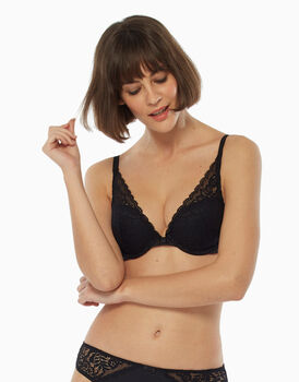 Reggiseno push up vela, nero, in pizzo e microfibra, , LOVABLE