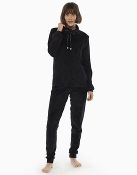 Homewear aperto nero in ciniglia e raso, , LOVABLE