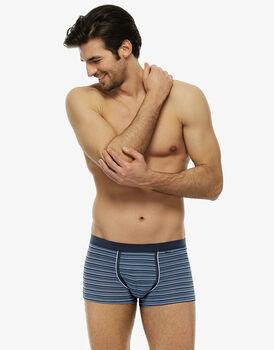 Short boxer multirighe azzurro in cotone elasticizzato-LOVABLE