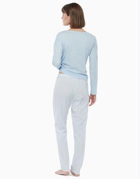 Pigiama in jersey di cotone, azzurro a righe, , LOVABLE