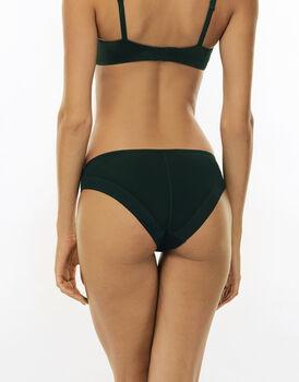 Slip 24H Feminine, verde, in microfibra satinata e pizzo elasticizzato. Massimo comfort-LOVABLE