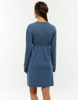 Vestaglia blu jeans in cotone modal, allacciatura con coulisse sottoseno-LOVABLE