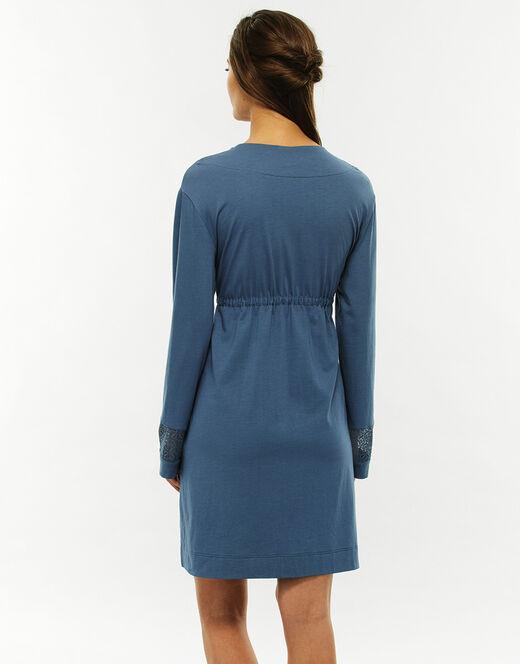 7eebc195926a Vestaglia blu jeans in cotone modal, allacciatura con coulisse sottoseno