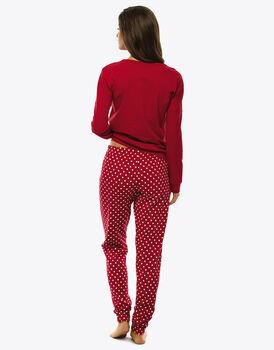 Pigiama manica e gamba lunga rosso in jersey di cotone-LOVABLE
