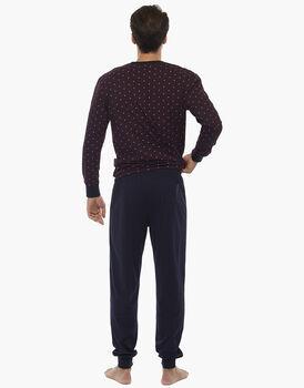Pigiama manica e gamba lunga bordeaux in jersey 100% cotone, , LOVABLE