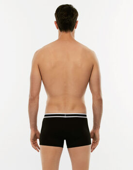 Short Boxer Easy Trend nero in cotone elasticizzato-LOVABLE