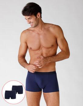 Bipack boxer in cotone elasticizzato, blu, , LOVABLE