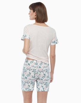 Pigiama corto in jersey di cotone, stampa a fiori, , LOVABLE