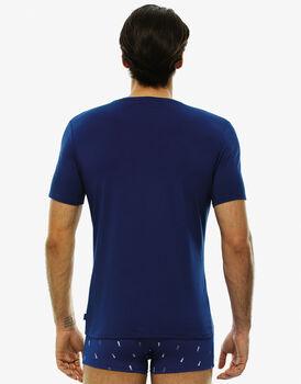 Maglia manica corta collo rotondo, stampa blu royal, in cotone modal , , LOVABLE