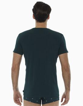 T-Shirt girocollo verde scuro in cotone elasticizzato , , LOVABLE