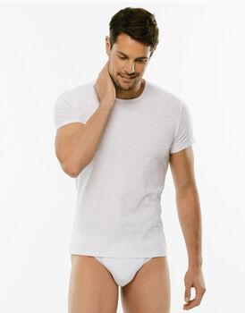 T-Shirt girocollo manica corta Slub Cotton bianca in cotone fiammato-LOVABLE