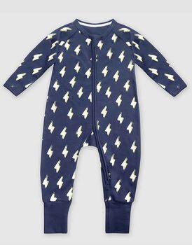 Tutina lunga con zip in cotone elasticizzato, colore blu notte con flash, , LOVABLE
