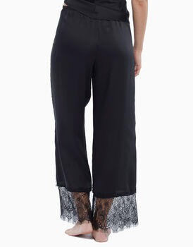 Pantalone in raso e pizzo, nero, , LOVABLE