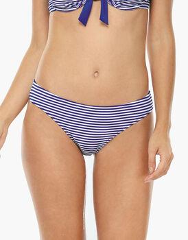 Bikini Slip medio a Righe blu elettrico e bianco in tessuto tinto filo-LOVABLE