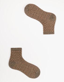 Calzini da donna corti in lurex, marrone, , LOVABLE