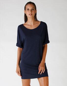 Maxi t-shirt in viscosa fiammata, blu oltremare, , LOVABLE