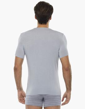 T-shirt uomo con scollo a v in micromodal, grigio chiaro, , LOVABLE
