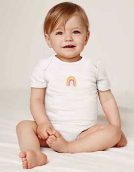 Body neonato a manica corta in cotone biologico pacco da 3, fantasia arcobaleno, rosa e bianco, , LOVABLE