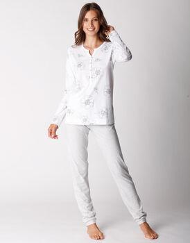 Pigiama lungo in jersey di cotone e modal, fiori su bianco, , LOVABLE